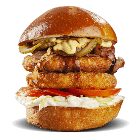 chicken burger with bacon and pickles