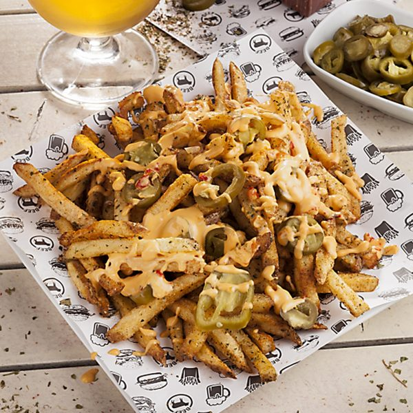 french fries with cheddar and jalapeno chilli peppers